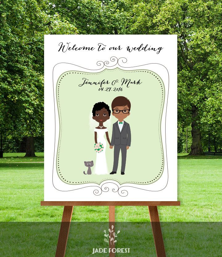 Wedding Welcome Sign Diy Newlywed Couple Personalized Portrait Illustration Bride Groom Prin Wedding Signs Diy Wedding Welcome Signs Wedding Welcome