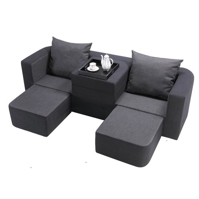 Peachy Black Charcoal Gray Modular Sofa With 3 Ottomans Can Be Frankydiablos Diy Chair Ideas Frankydiabloscom