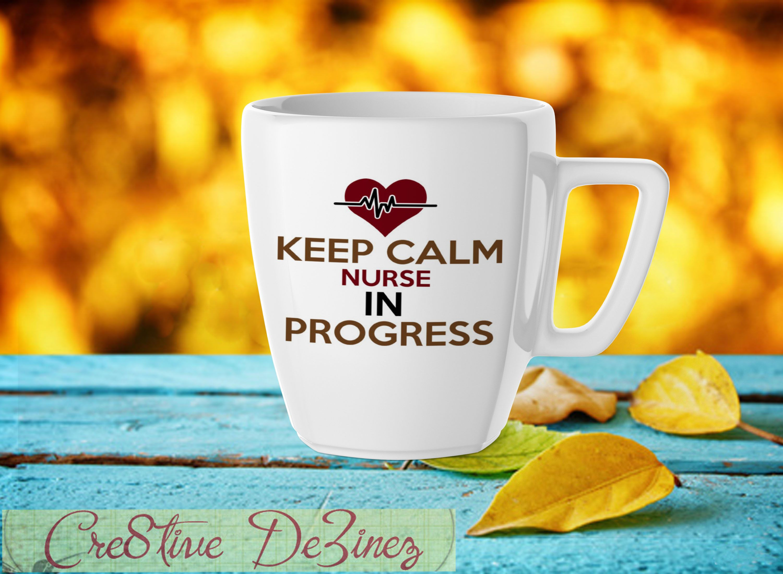 Funny Nurse Glass Keep Calm In Progress Nursing Student Gift