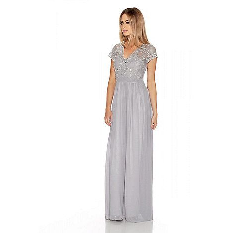Silver Embroidered Chiffon Maxi Dress