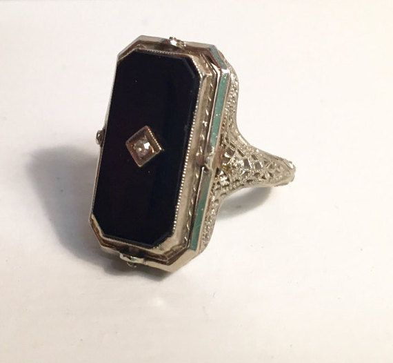 f0ad9f8006d5a Vintage Art Deco Filigree Flip Ring Black Onyx and by FillaDeeGree ...