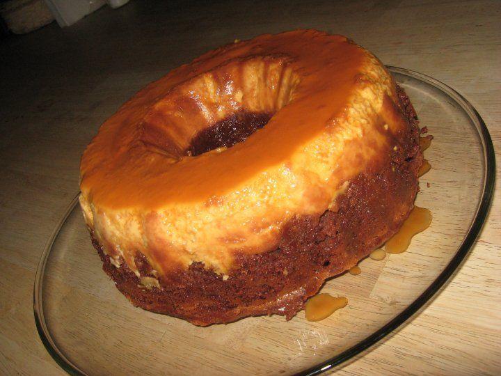 Photo of Chocoflan made by Me, thats right, Me! Chocolate cake mix – made to by the box r…