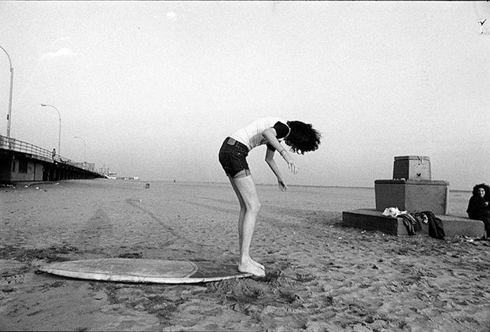 The Ramones: Joey Ramone on surf board