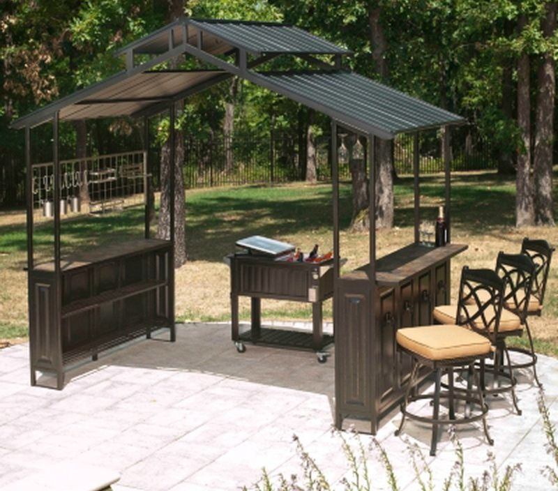 New Large Steel Frame Grill Gazebo Outdoor Bar Vented Hard Top