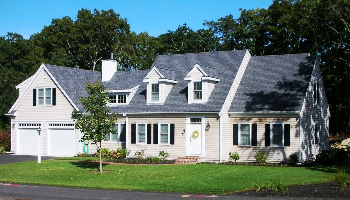 White cape cod house with black shutters google search for Cape cod garage