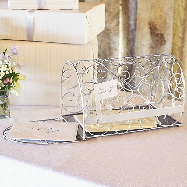 Personalized Silver Metal Scroll Gift Card Mailbox