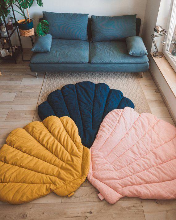 Photo of M size Seashell mat natural linen mat quilted seashell playmat padded linen mat kids room rug floor decor seashell rug luxury baby play mat