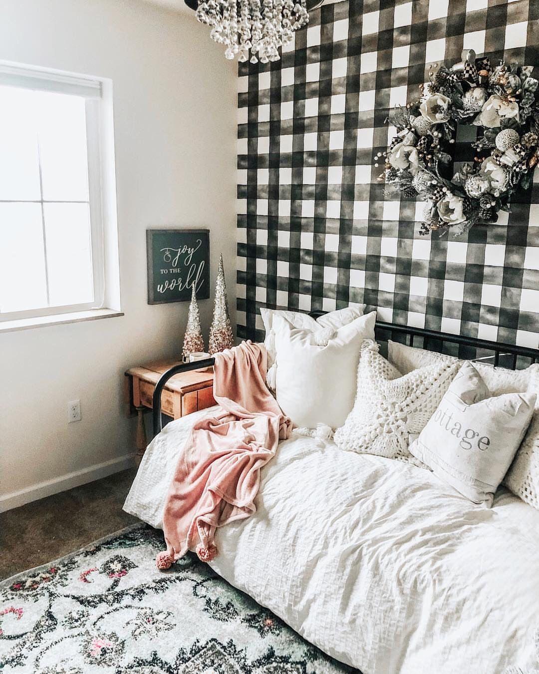 Magnolia Home Buffalo Check Black and White Wallpaper in