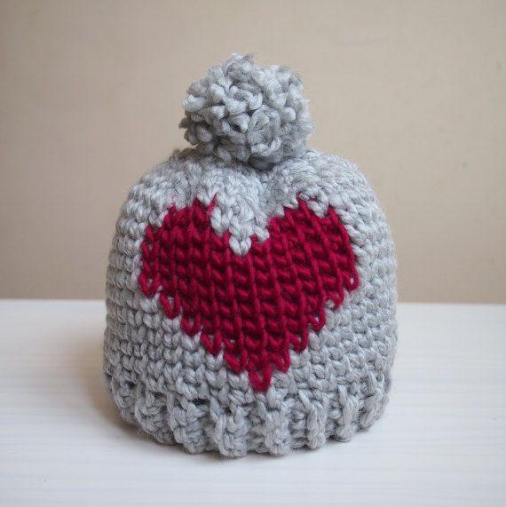 Crochet pattern Heart bulky hat fair isle hat women by AnaDdesign ...
