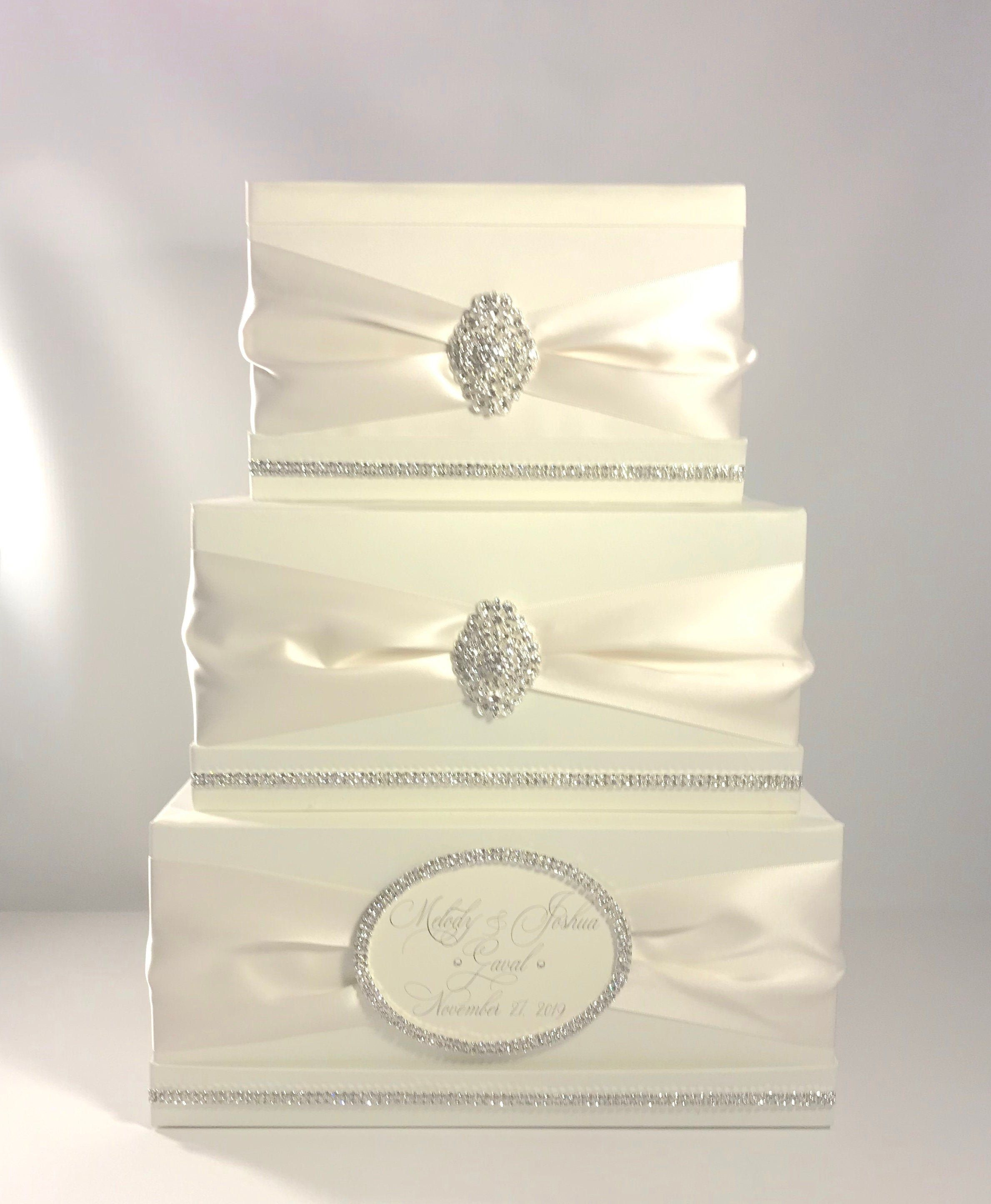 Wedding Money Box With Lock Ivory Or White Classic Etsy In 2020 Money Box Wedding Personalized Wedding Card Holder Card Box Wedding