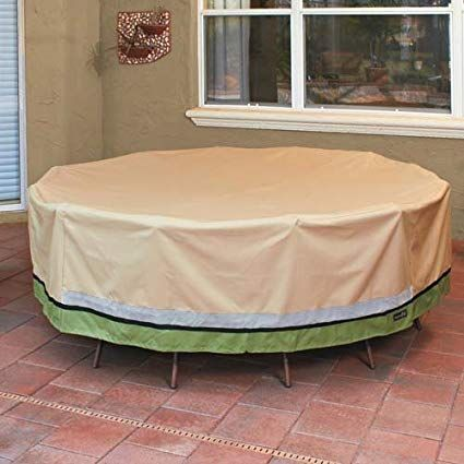Sure Fit Deluxe Round Table And Chair Set Cover Taupe Outdoor