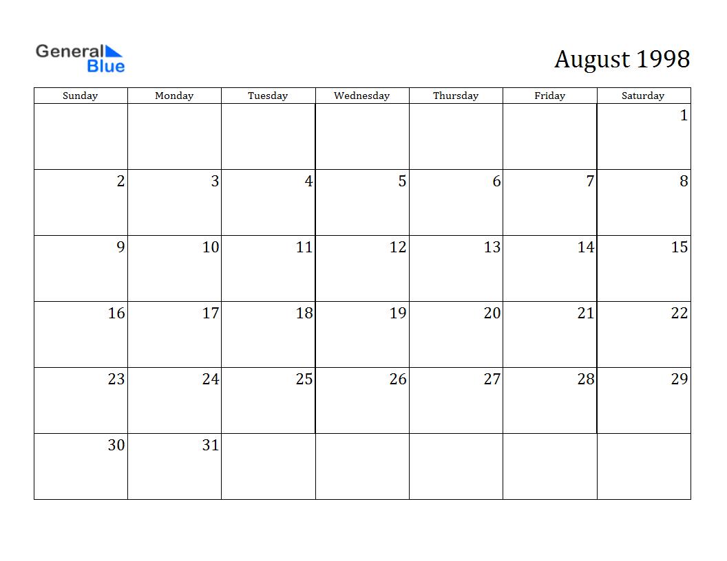 August 1998 Calendar Google Search Just Fun Stuff Pinterest