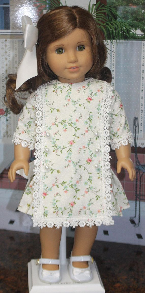 American Girl Style Edwardian Apron Dress in Roses and Cream | Doll ...