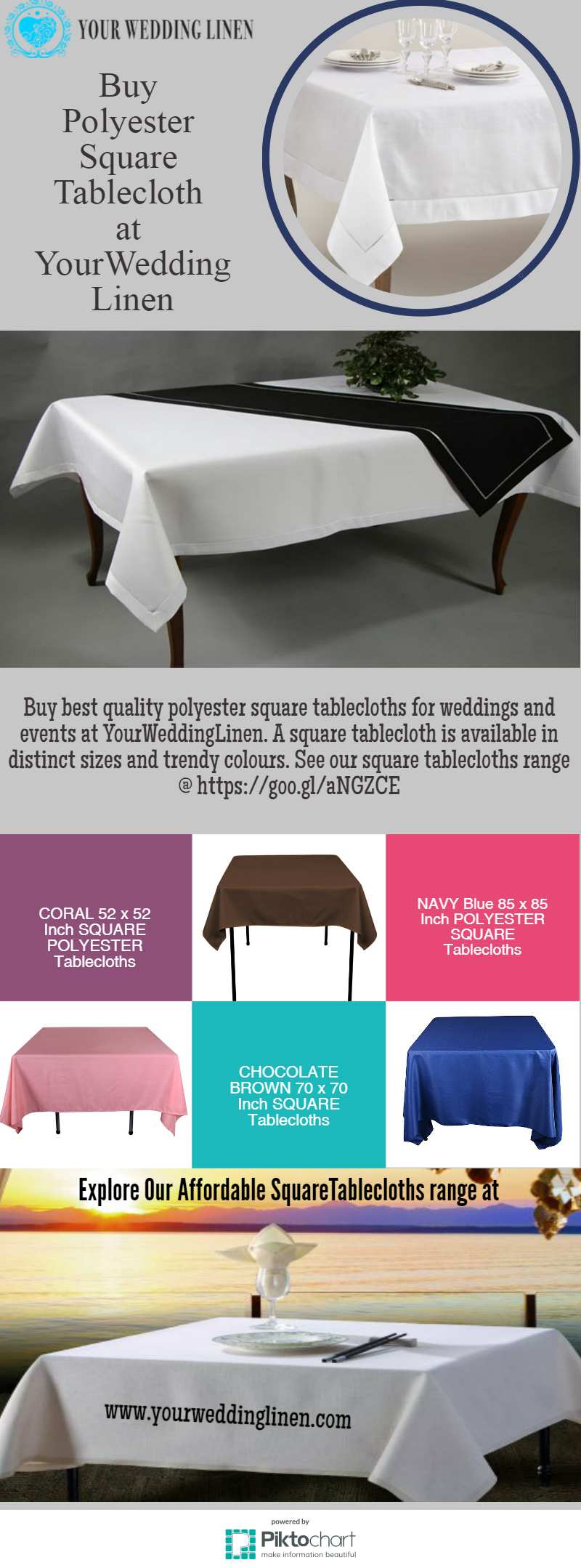 Buy Best Quality Polyester Square Tablecloths For Weddings And Events At  YourWeddingLinen. A Square Tablecloth