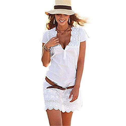 Photo of Transer – Boho – Scollo a V in pizzo Abito con cappuccio Taglio basso manica Stampa floreale Matita Estate Spiaggia Mini abiti Colore bianco Taglia Piccola