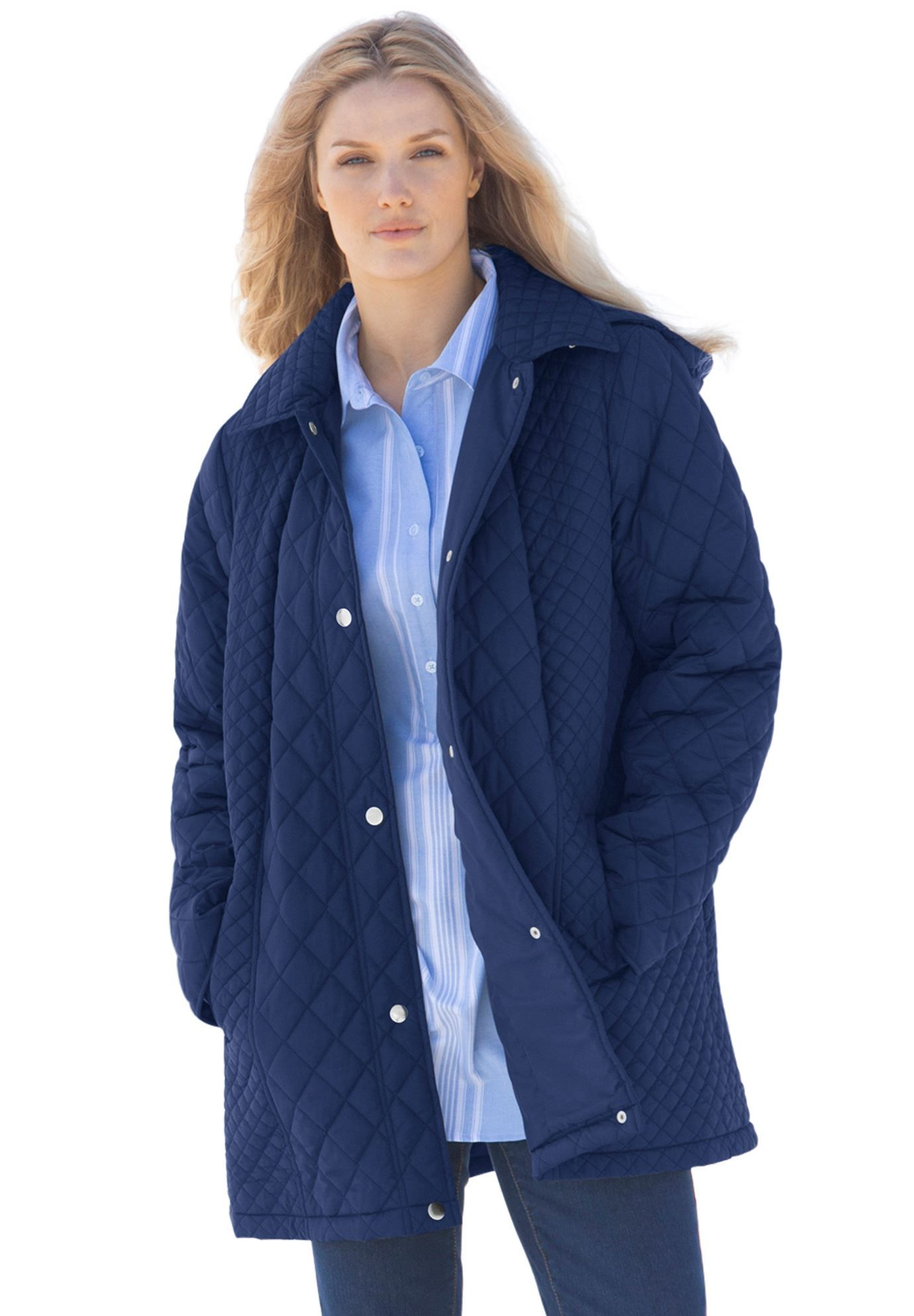 Quilted jacket, hooded, with slight A-line shape