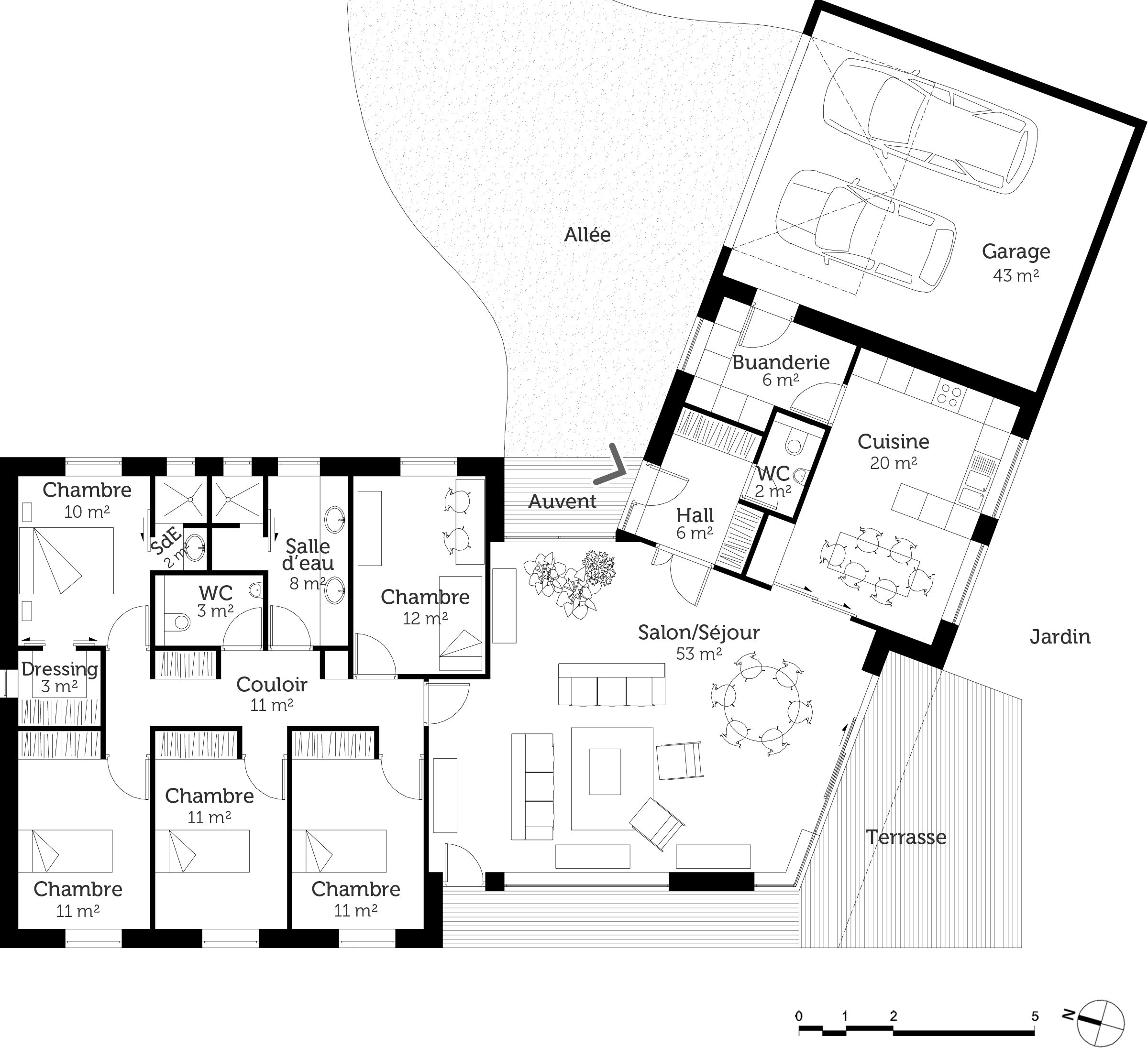Plan au sol in 2019 bungalow floor plans house design - Plan de maison plain pied 4 chambres avec garage ...