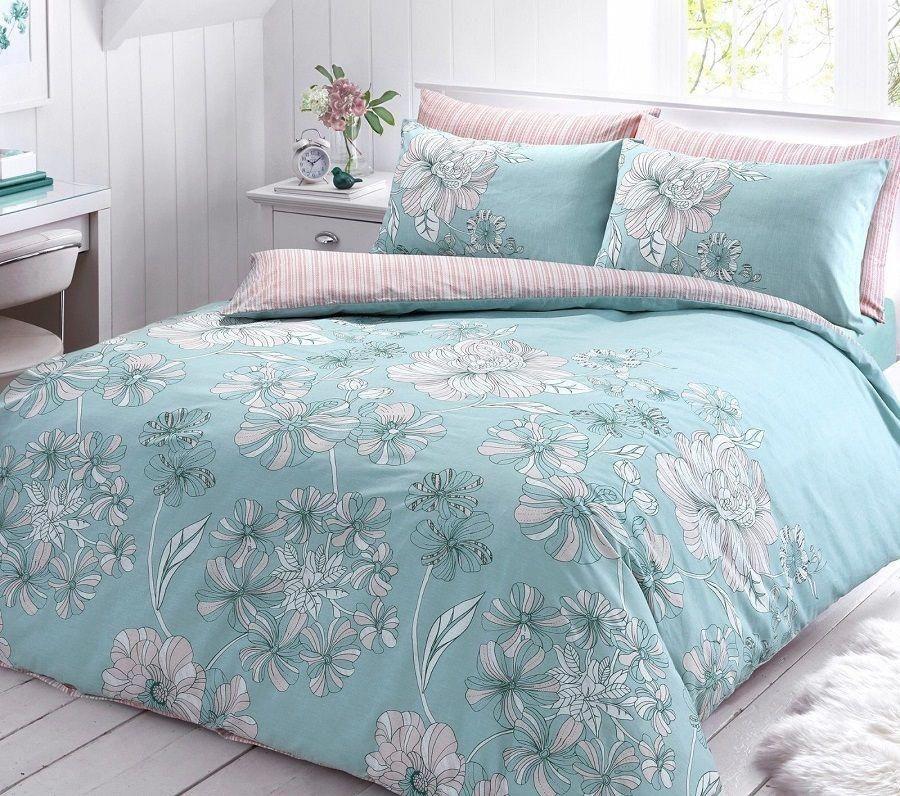 Linear Printed Duck Egg Duvet Quilt Cover Bedding Set Linen And Bedding Coolbedlinen Duvet Cover Sets Fitted Bed Sheets Quilted Duvet