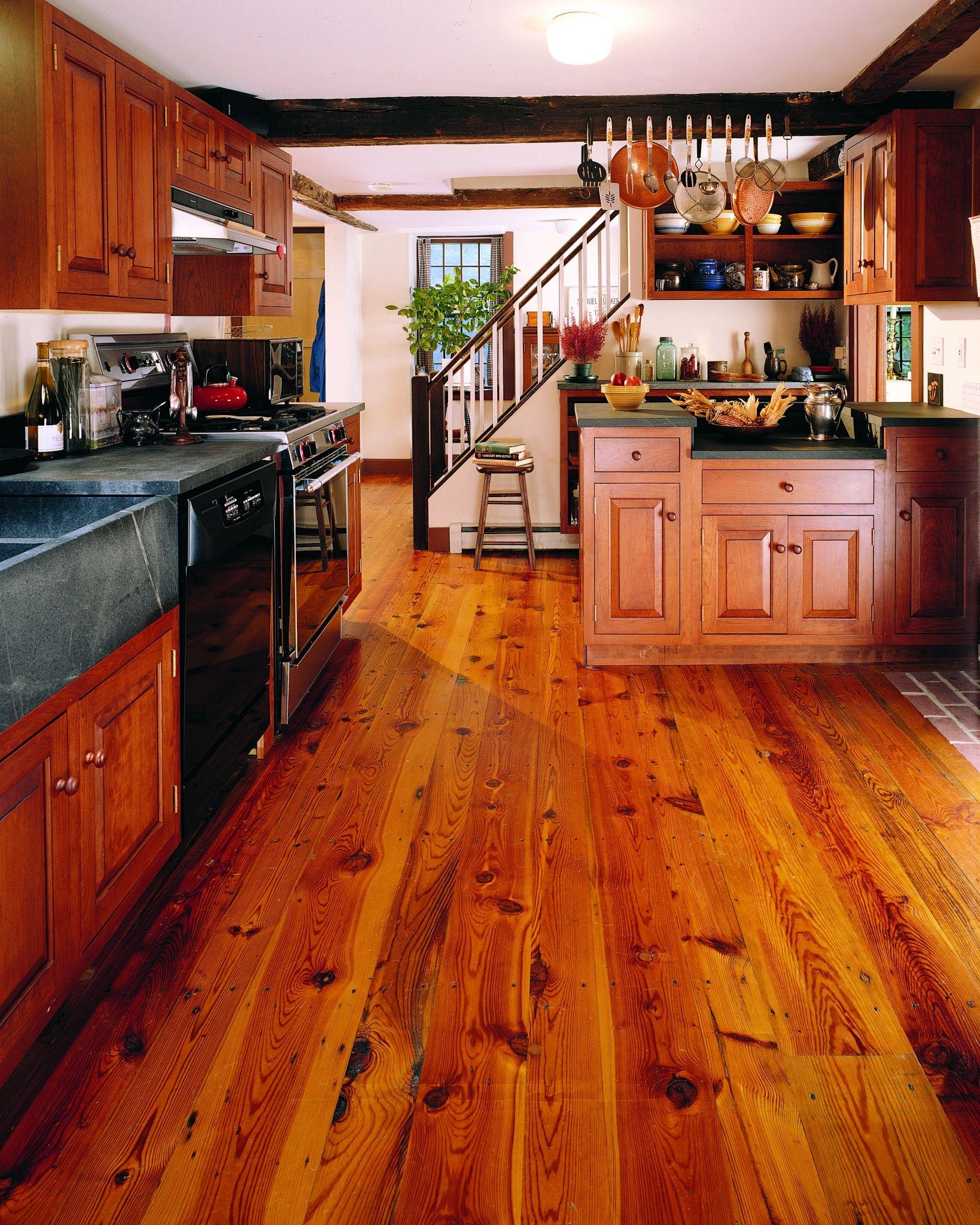 Reclaimed Heart Pine Flooring in Kitchen Pine floors