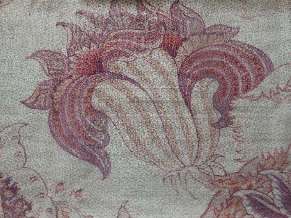 Antique French Softened Indienne Floral Cotton Fabric ~Lavender Apricot Blush