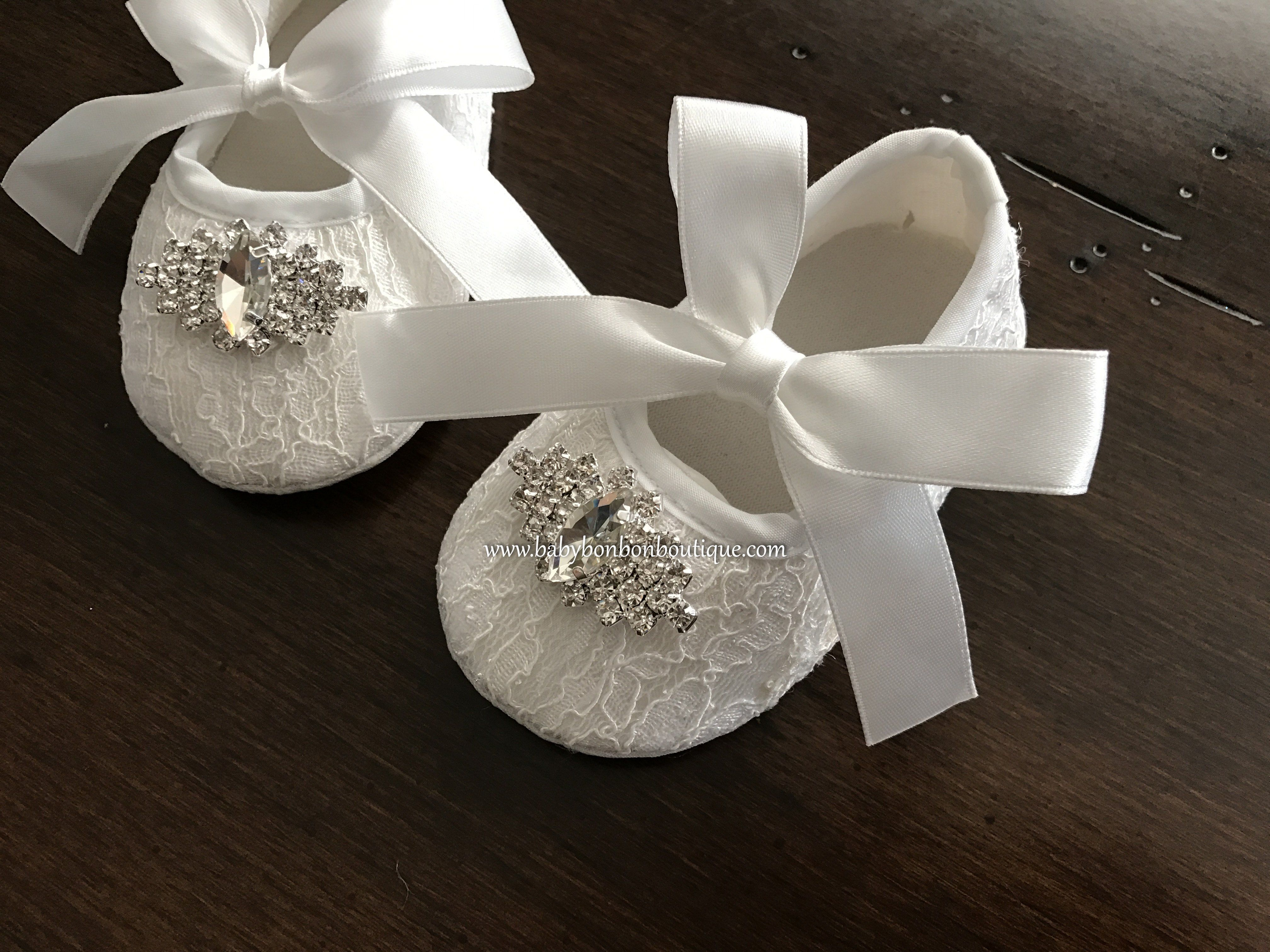 Baptism Baby and Toddler Girl Christening White or Ivory Linen Flower Girl Shoes