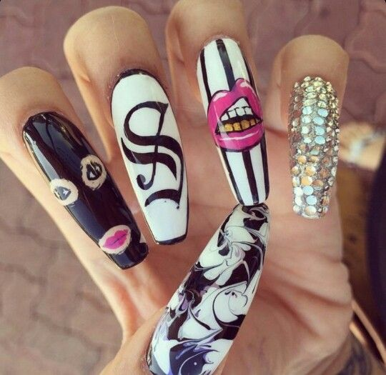 Thugged out coffin nails all things beauty pinterest coffin try this selected and easy long nail designs get ideas for long nail art designs images prinsesfo Images