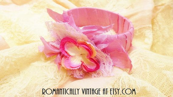 Pretty Pastel Flower Bangle Lace by RomanticallyVintage on Etsy, $23.00