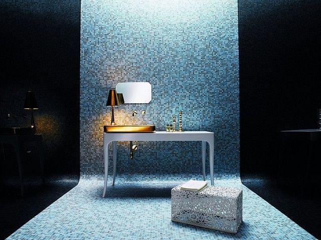 Bisazza tiled bathroom bisazza 39 s ornella glass mosaic for Bisazza bathroom ideas