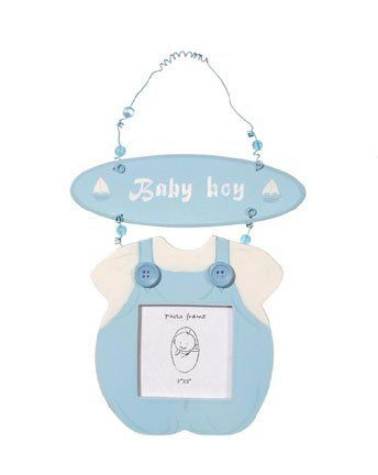 """Baby Frames, BlueBoy by Escape Concepts. $5.99. Unique photo frame. Great for birth announcements. Adorable new baby gift. Great for baby shower favors. Unique party gift. This really cute baby girl dress or boy jumper frame is the perfect gift for the new parents. The baby dress and jumper frame is adorable. It is cute and pink or blue. The frame is 3"""" x 3"""" The entire dress/jumper is ~ 7"""" x 5""""."""