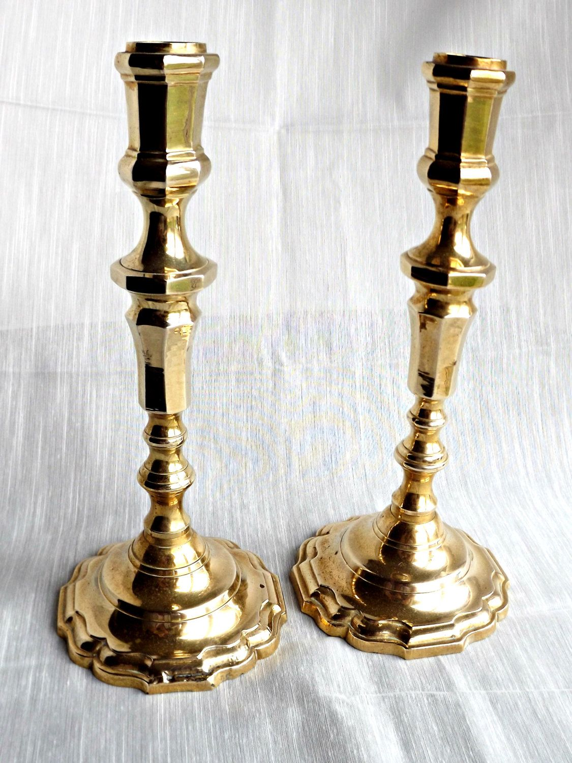 Solid Brass Candle Holders, Vintage Brass Candle Holders