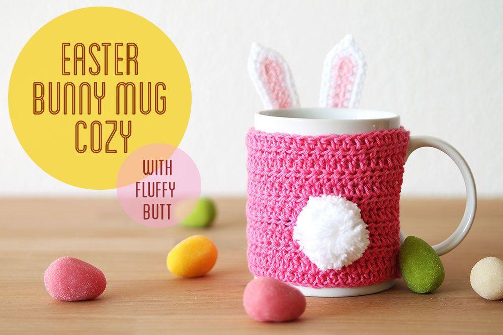 Free crochet pattern: Easter bunny mug cozy | Conejo de pascua ...