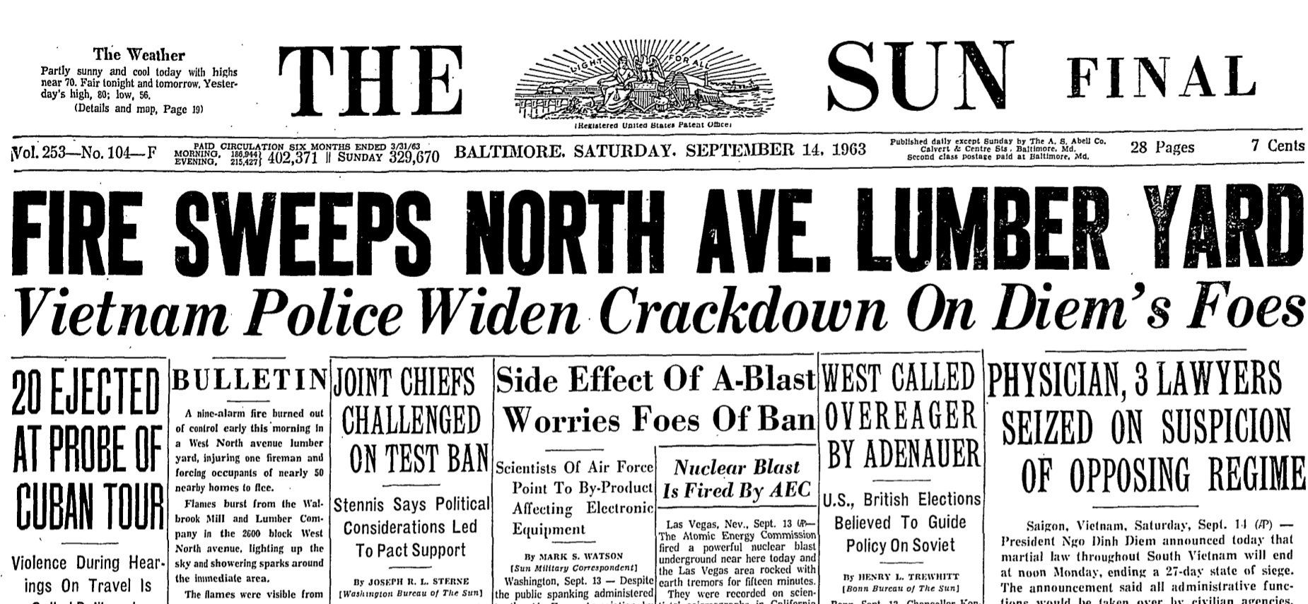 September 14th 1963 Front Page Of The Baltimore Sun Baltimore