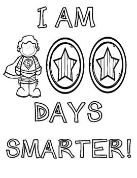 100th Day of School Superhero coloring sheets and activity