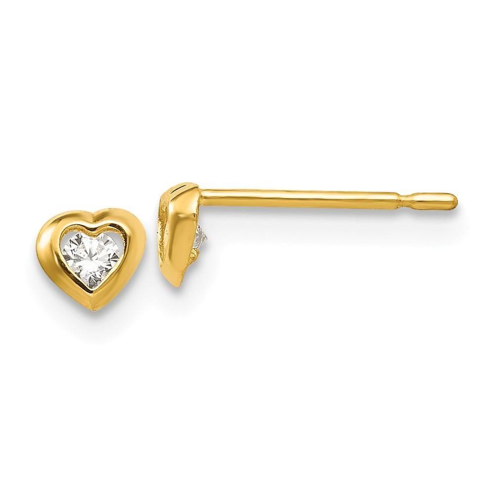 14kt Yellow Gold Madi K CZ Children/'s Heart Post Earrings