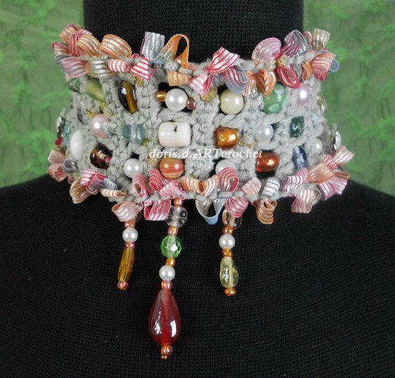 Bib jewelry scarf, graceful, constume jewelery, craw band, statement ...