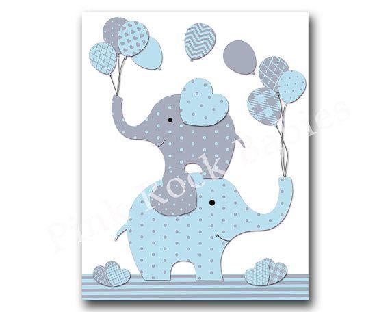 Elephant Nursery Wall Decor blue elephant nursery wall art, baby boy nursery decoration, kids