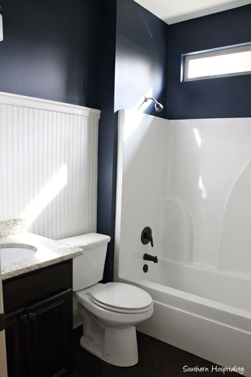 Ruby moved in the lake cottage navy walls Navy blue and white bathroom