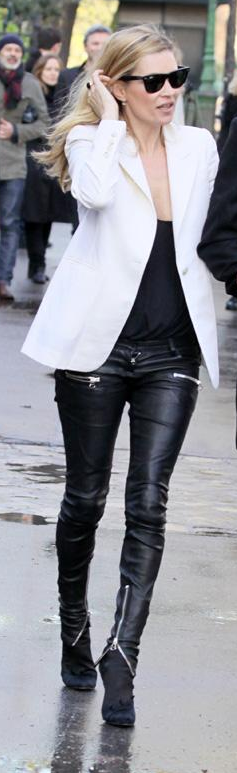 Kate Moss...fabulous black leather jeans with zipper accents