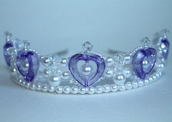 Purple Hearts Pearl And Crystal Princess Tiara Flower Girl