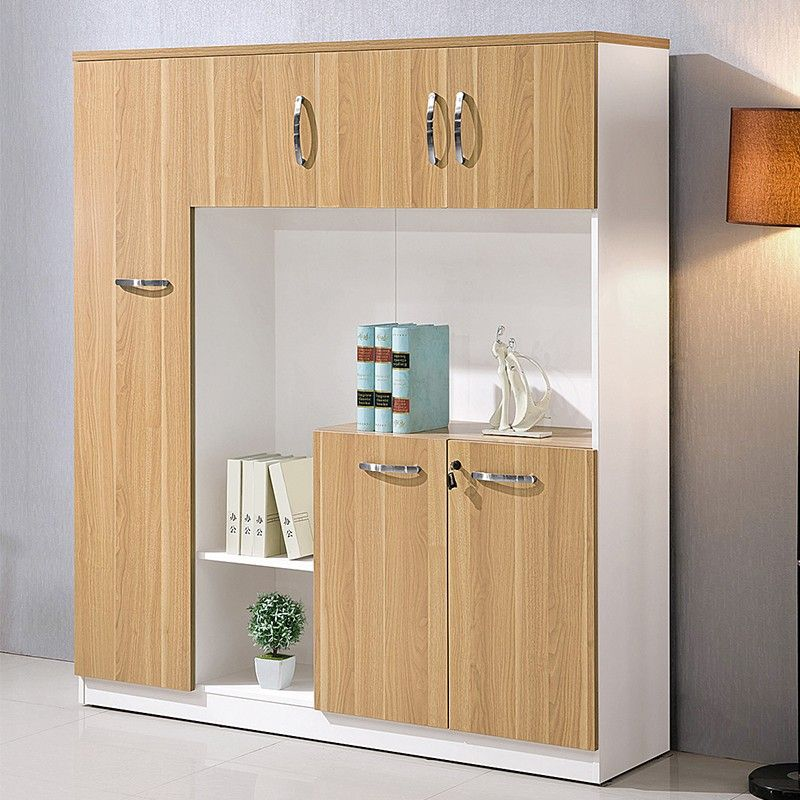 Unique Modern Wood 4 Doors Filing Cabinet Office Furniture With Upper Open Display Shelves