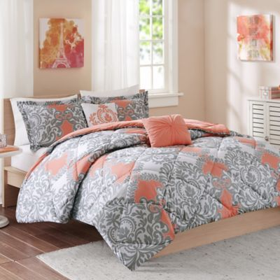 Grey And Coral Bedding