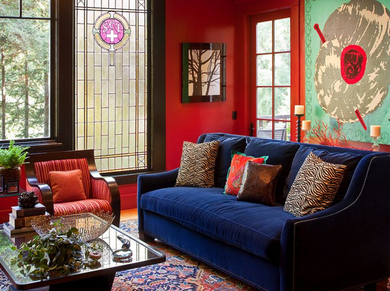 20 Beautiful Living Rooms With Blue Red And White Accents Living Room Red Red Living Room Walls Living Room Turquoise