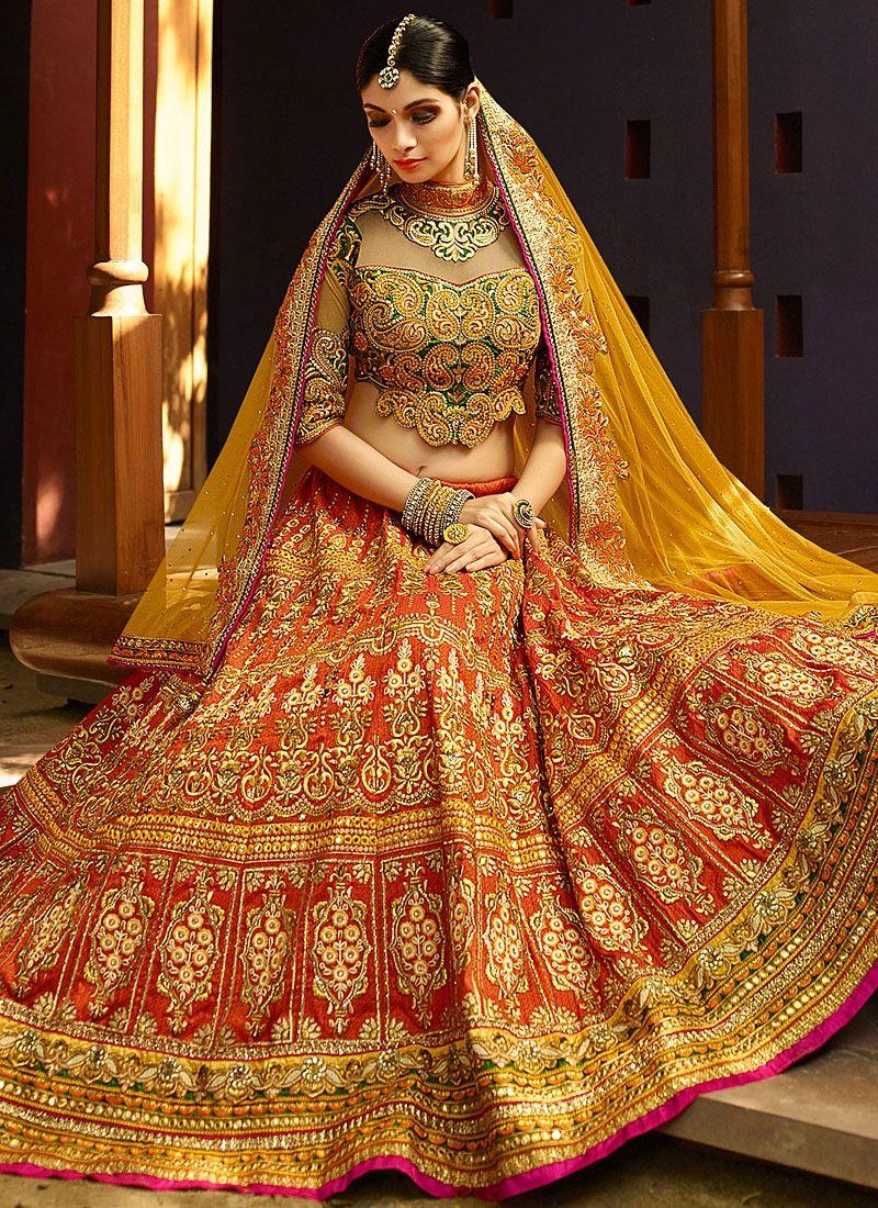 Bewildering orange art silk lehenga choli indian bridal