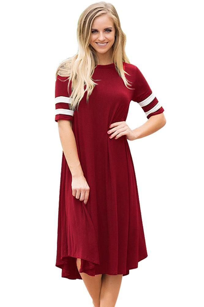 c817872dbc82b Sexy Striped Half Sleeves O Neck Flowy Jersey Dress in Red ...