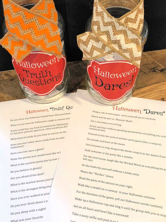 Halloween Truth or Dare Game for Tweens {free printable