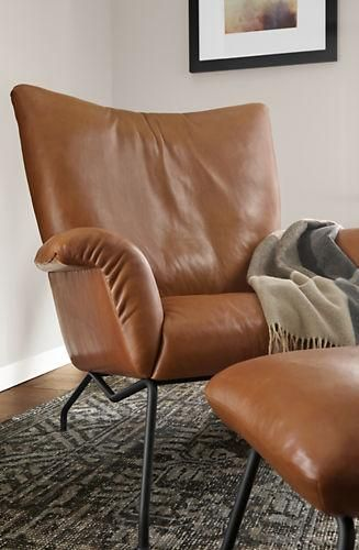 Paris Leather Chair Ottoman Modern Accent Lounge Chairs Modern Living Room Furniture Room Board Modern Leather Chair Leather Lounge Chair Chair And Ottoman