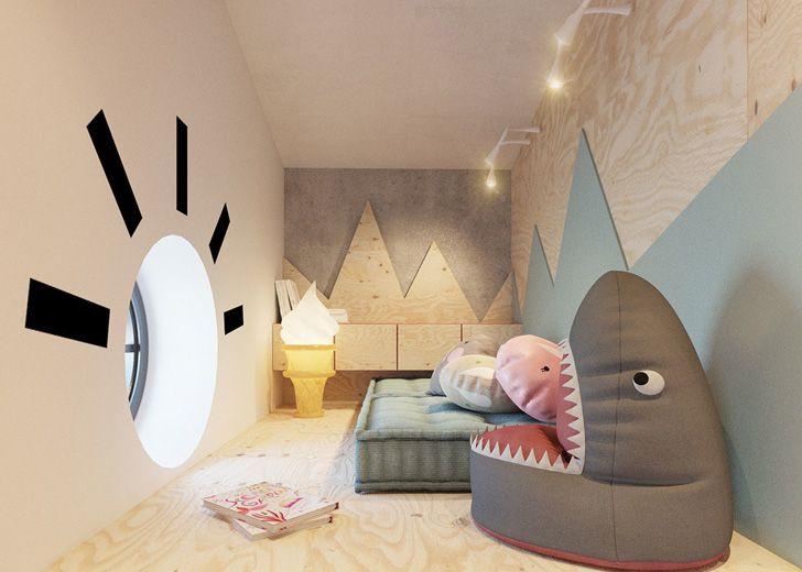 Habitación infantil de diseño ¡Con tobogán incluido   Toboganes ...