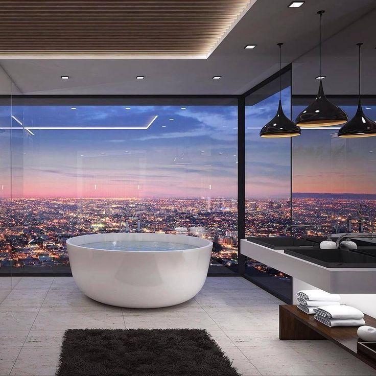 Photo of Bathroom goals? 😍🌃 via @vantagedesigngroup #bathroomgoals #bathroomwithavi…
