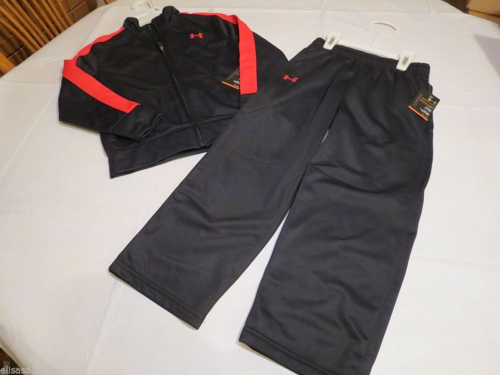 Under Armour UA Boy's 2 pc Tracksuit Jacket Pants active 6 youth black red NEW