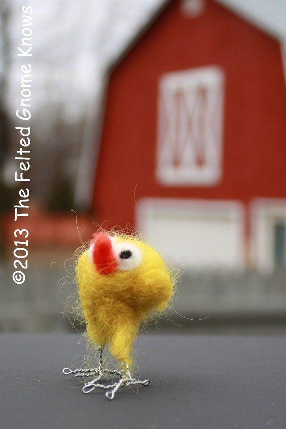 Needle Felted Chick Baby Felt Spring Chick Needle Felted by susio